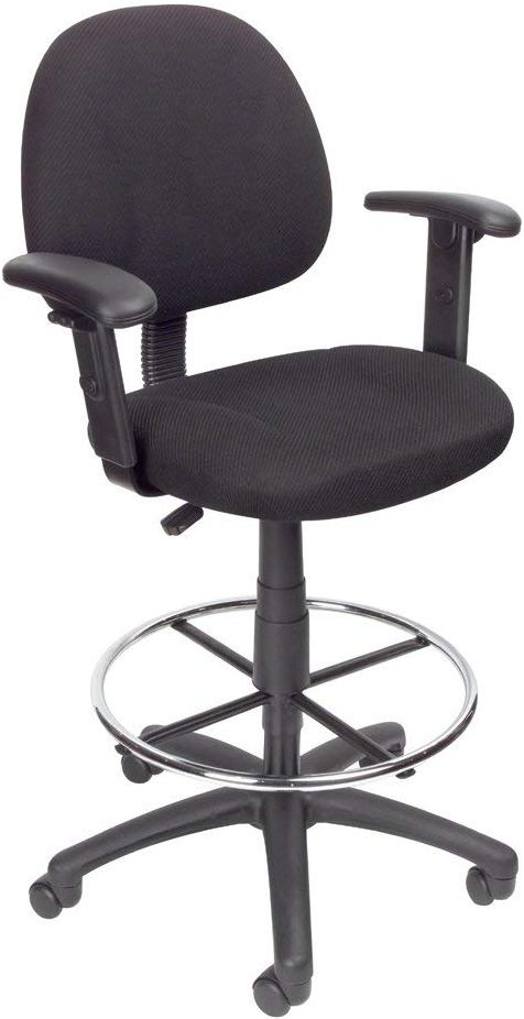 BOSS Office Products Drafting Stool With Foot Ring And Adjustable Arms
